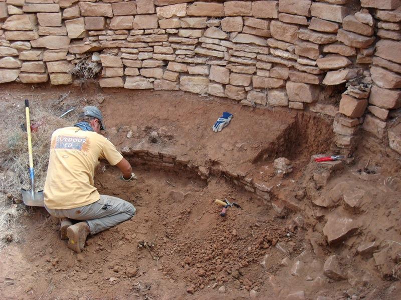 Excavation of Collapsing Kiva Bench. Photo Courtesy Erin Baxter.