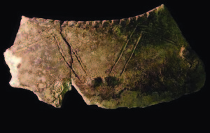 A rim fragment of a foreign cooking jar found in 2000 in a shrine house at Pfeffer, a site near Emerald where archaeologists have also found evidence of religious activity. The jar could have been made by an immigrant or pilgrim visiting the Cahokia region. Photo credit: Susan M. Alt