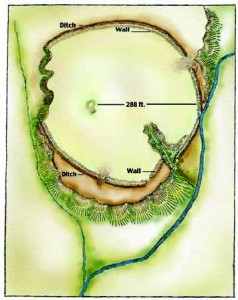 300th Site Saved: Fort Salem Earthworks. This artist's rendition of the Fort Salem earthwork is based on the 1883 drawing by surveyor J.P. MacLean that appeared in the Smithsonian Annual Report. It's believed to be the first published drawing of the earthwork. Art Credit: Charlotte Hill-Cobb.