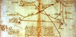 This map was drawn in 1602 by a Wichita Indian who was captured by the Spanish. The circular figures represent native settlements. Etzanoa is depicted by two circles with a diagonal line between them at the top center of the map.Image Credit: General Archives of Maps and Plans, Mexico City