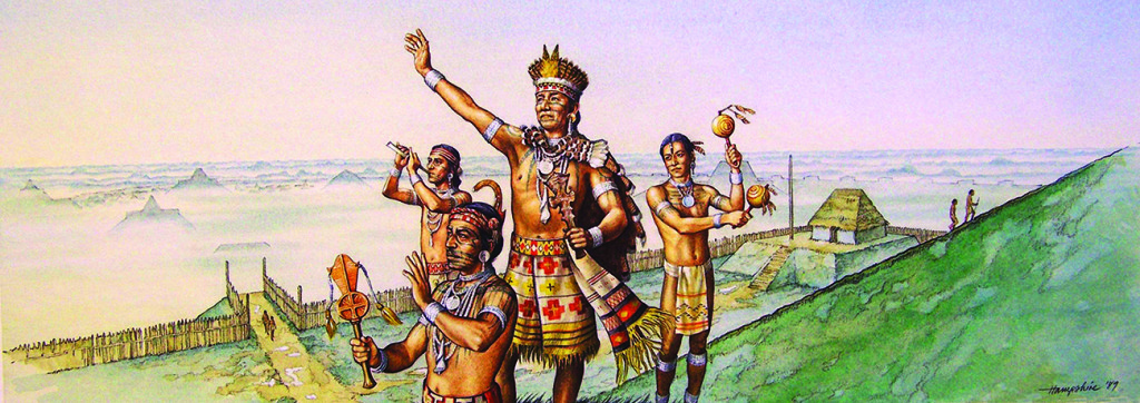 A Cahokia leader (center) greets the rising sun on top of Monks Mound with his priests and attendants around him in this artistic depiction of religious activities. Art by Michael Hampshire.