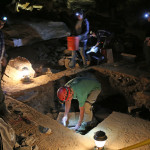 Archaeologists work in the Giants Coffin area in Mammoth Cave. Cane torch debris and gypsum crystals indicate this area was used for mineral mining by Native Americans between about 2,400 and 3,000 years ago. Credit: NPS