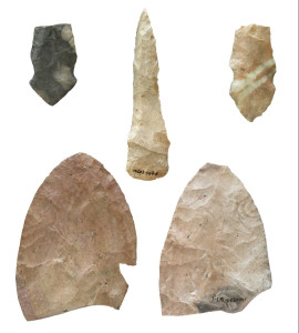 These protohistoric Wichita stone knives were recovered from the site by the Kansas State Historical Society. Credit: Donald Blakeslee