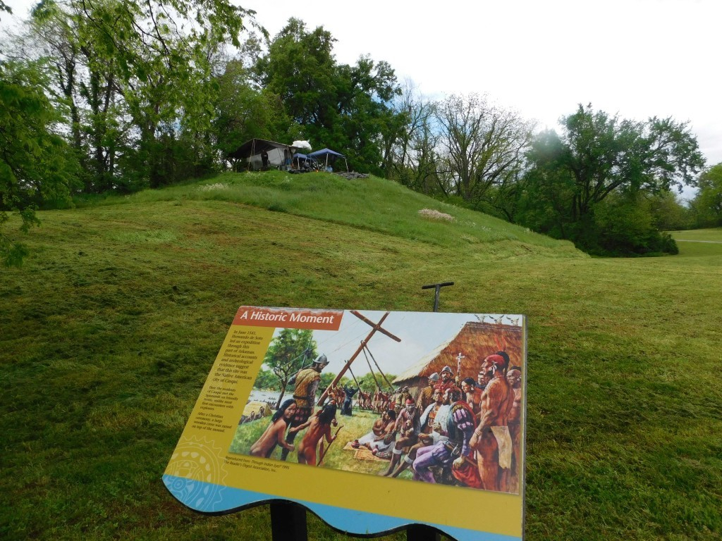 One of the interpretative signs at Parkin depicts the raising of the cross. Photo TAC/ Jessica Crawford.
