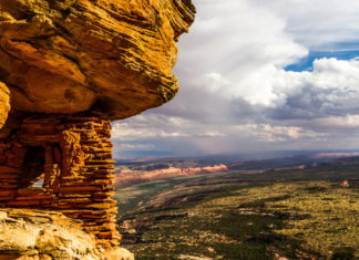 Prehistoric Granary overlooks Cedar Mesa. Photographer: Josh Ewing
