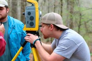 Another Troy State University student uses a transit to map the site. Credit: Paul Willis, University of South Alabama