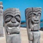 These impressive wooden statues stand guard at Pu'uhonua O Honaunau National Historical Park Credit: NPS