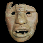 A rain deity mask from an offering at a public building at Cerro de la Virgen in the lower Río Verde Valley. The breaking of the mask may have released its vital force, thereby ensouling the building. Credit: Jeff Brzezinski