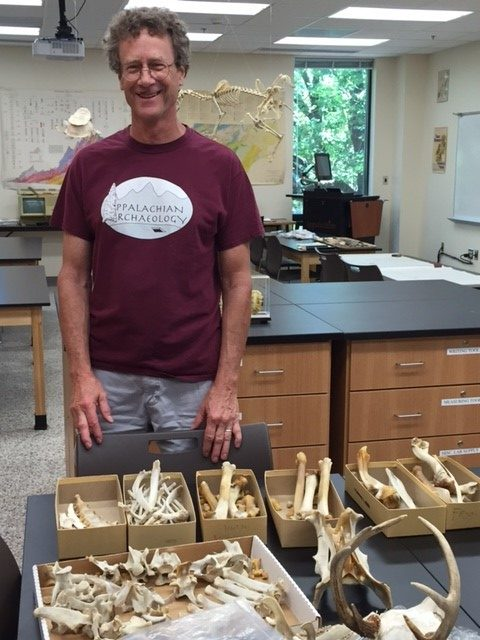 Dr. Thomas Whyte with materials for faunal research.