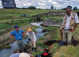 Archaeologist Tom Dillehay (in blue shirt and hat, standing) has directed excavations at Monte Verde in southern Chile for years. Recent research suggests the site could be more than 18,000 years old. Photo Credit: Kenneth Garrett.