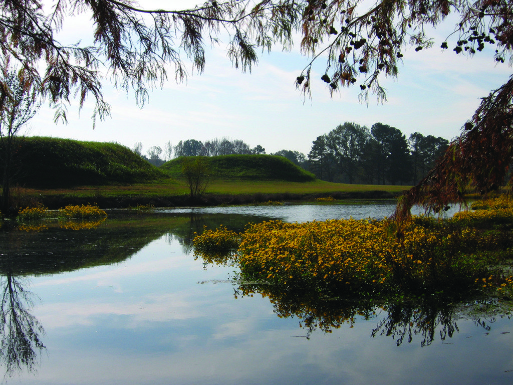 Two of Moundville's numerous mounds are seen here. Credit: William Bomar, University of Alabama Museums.