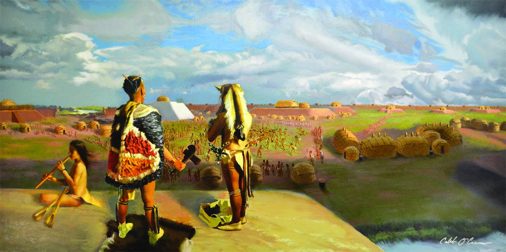 This illustration shows Moundville during the Mississippian period. credit: Caleb O'Connor