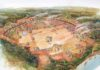 An artist's depiction of Moundville sometime after A.D. 1200. By Steven Patricia.