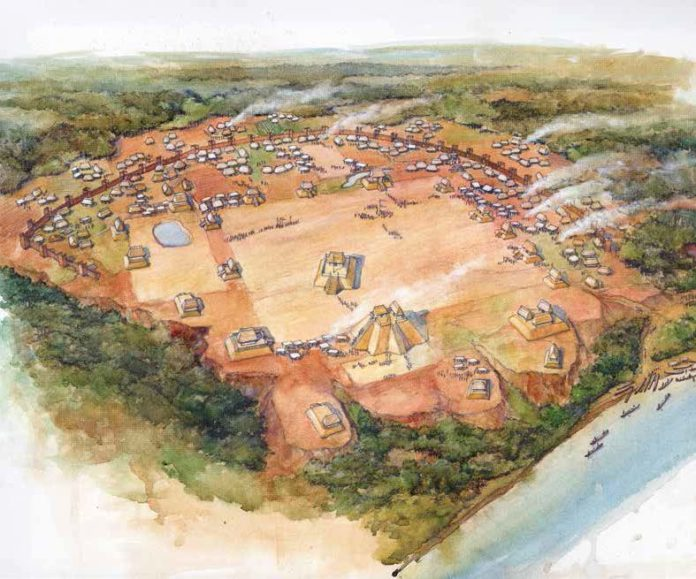 An artist's depiction of Moundville sometime after A.D. 1200. By Steven Patricia.