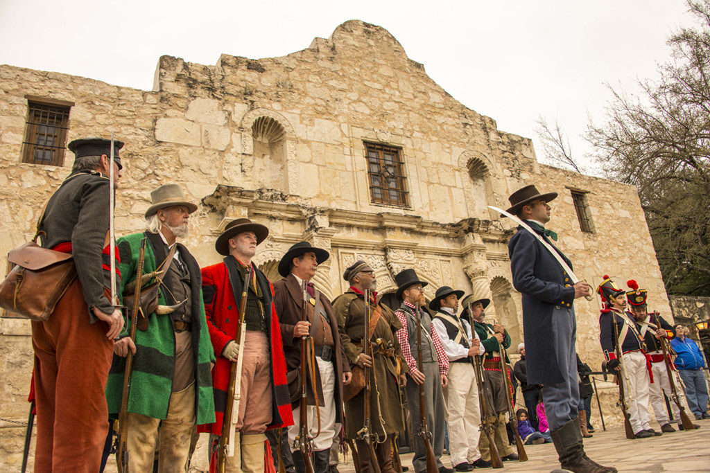Volunteers mark the commemoration of the 1836 battle at the Alamo in 2015. Credit: Reimagine The Alamo