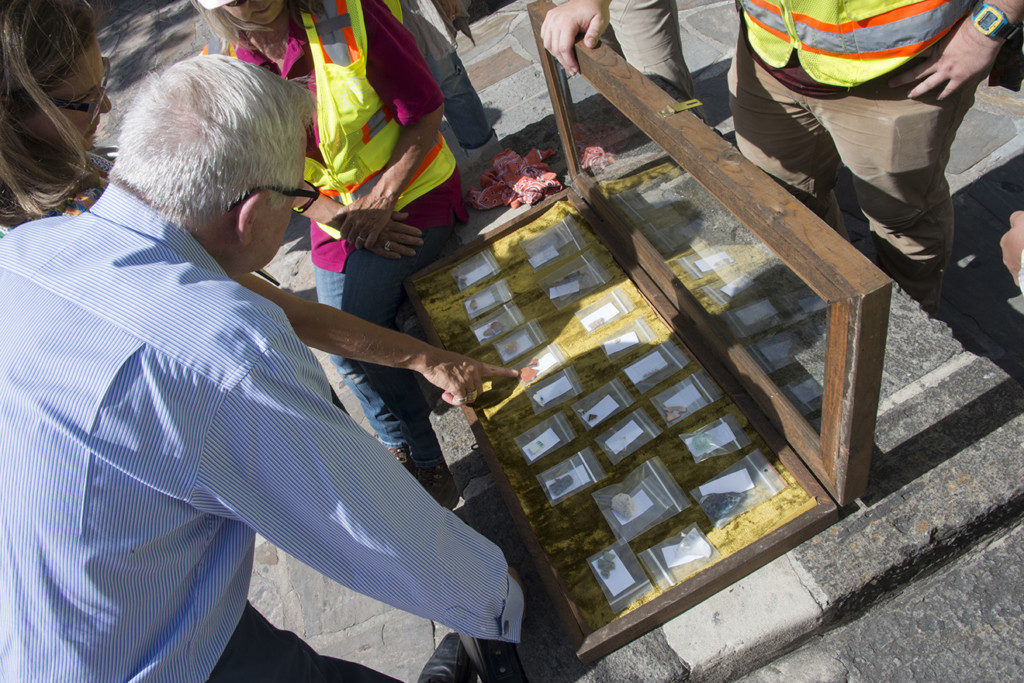 Artifacts recovered by the archaeologists are displayed during a press conference. credit: Reimagine The Alamo