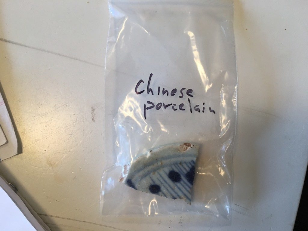 Chinese Porcelain sherd from Mississippi Historic Site.