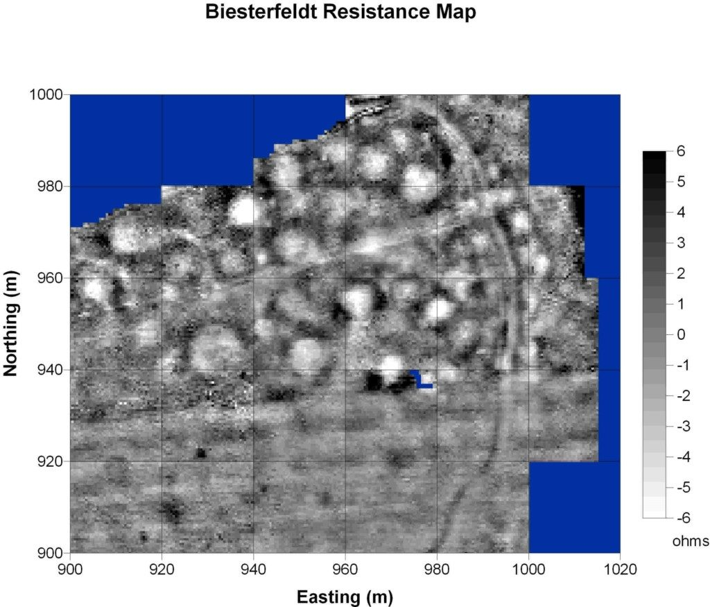 Resistance survey, Biesterfeldt site. The data have been despiked, edge-matched, and a high pass filter (X and Y radius = 10 with uniform weighting) has been applied.