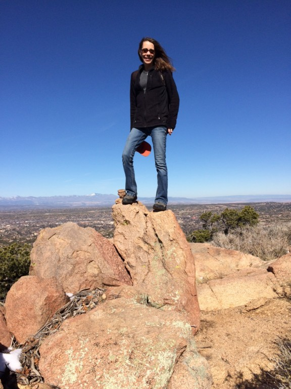 The Author, Tamara Stewart, hiking Moon Mtn in the foothills of Santa Fe.