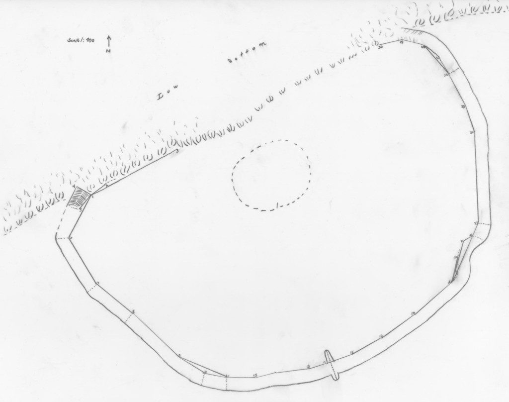 Copy of Lewis 1890 map of the Biesterfeldt site. Adapted from a copy available at the State Historical Society, Bismarck.