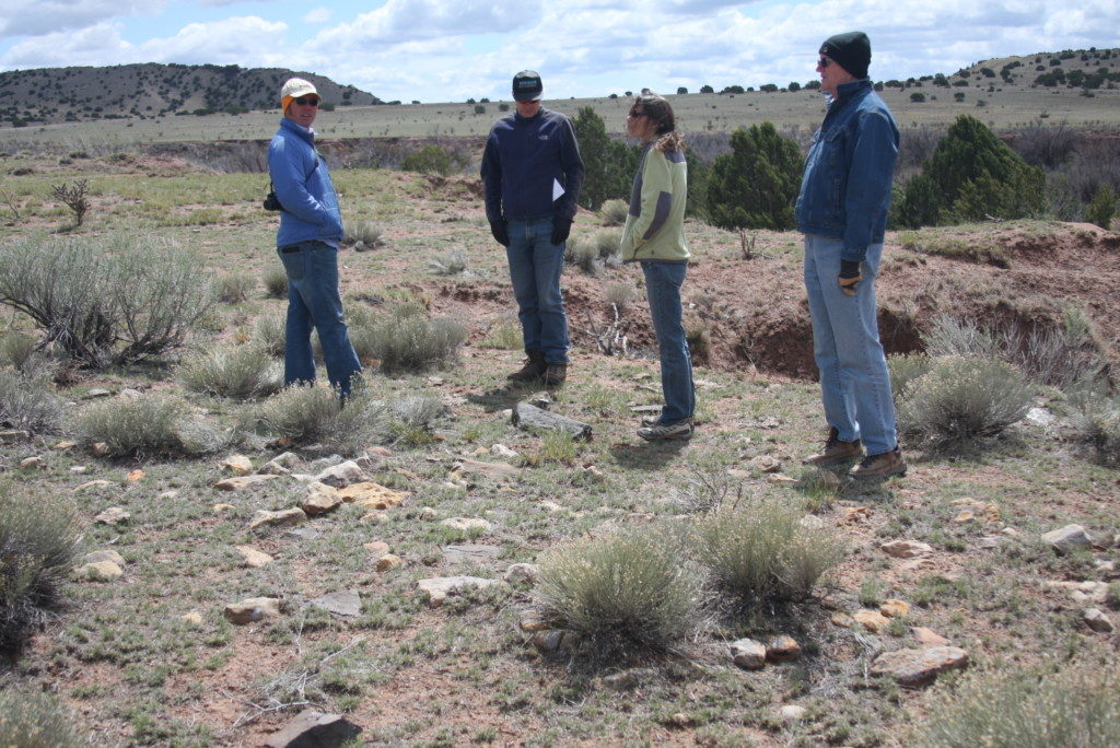 Gordon Wilson, TAC Chairman of the Board (right); Tamara Stewart, SW Special Projects Coorindator, and volunteers surveying a ranch in the Galisteo Basin about 6 years ago. Photo: The Archaeological Conservancy.