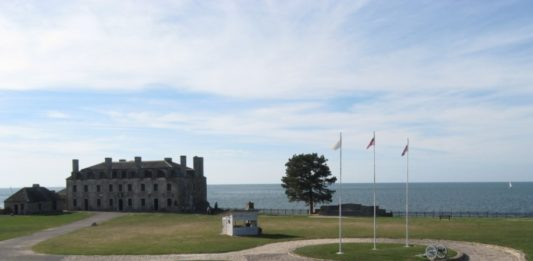 The view at Old Fort Niagara overlooking Lake Ontario. The large stone building was a French fortification known as the French Castle.