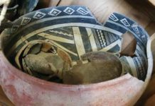 A reconstructed polychrome bowl recovered from the Kipp Ruin. Photo The Archaeological Conservancy.