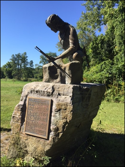 A monument honoring Major Robert Rogers, who is known for training the infantry force known as Roger's Rangers and writing the Rules of Ranging.