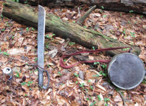 Due to the Great Dismal Swamp's thick vines and brush, heat and humidity, a machete and a large canteen are essential equipment for archaeologists. Credit: GDSLS/Sayers 2013