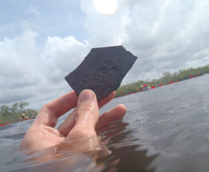 A unit-stamped pottery sherd discovered during an underwater survey. credit: Heather McKillop