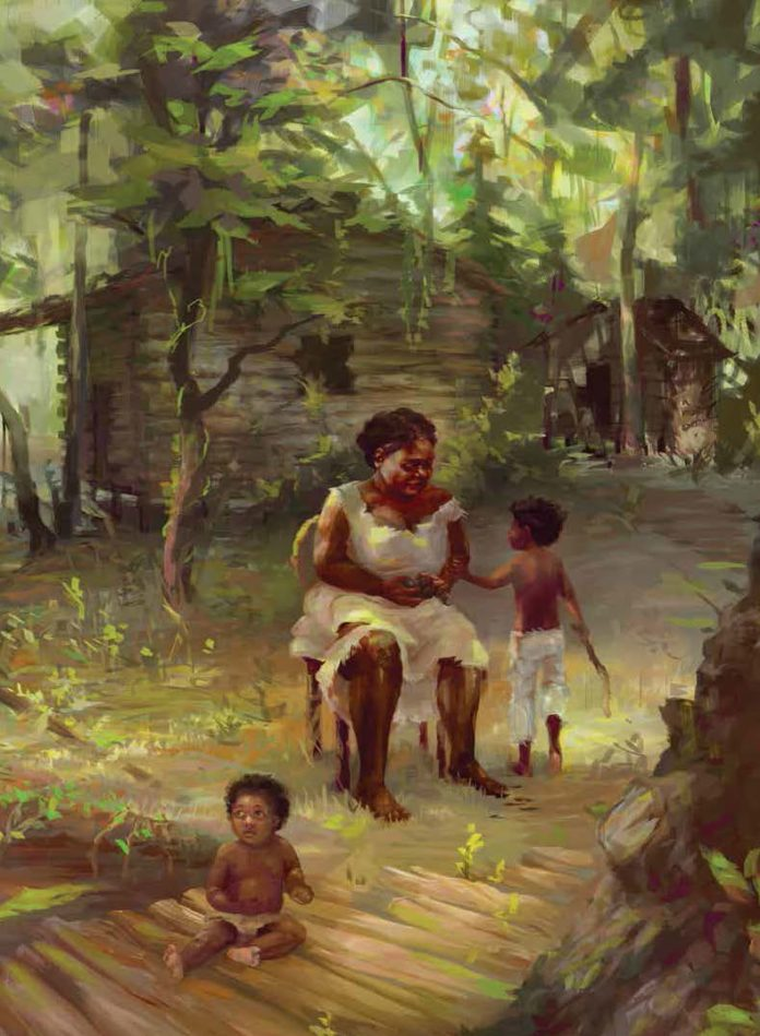 By around 1680, African American Maroons established communities on islands in the swamp. The woman pictured here is fashioning a tool while keeping an eye on her children. Credit: Carolyn Arcabascio
