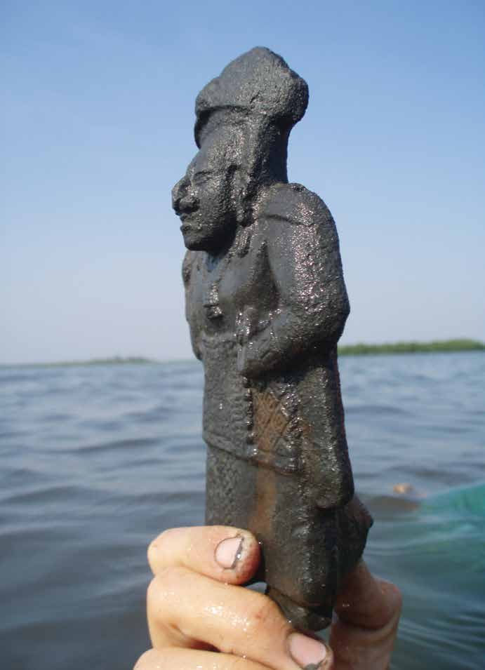 The researchers have found several clay figurines, most of which, like this example, depict women. These figurines have hollow areas, mouthpieces, and holes that enabled them to serve as whistles. They were primarily imported from Lubaantun and other inland sites. Credit: Heather McKillop.