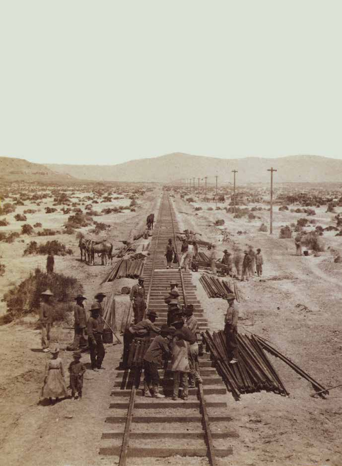 Chinese crews lay track for the Central Pacific Railroad along the Humbolt Plains in Nevada in this historical photo. Credit: alfred hart / library of congress, LC-1s00618v