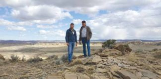 U.S. Department of Energy representative Todd Stribley (left) and Conservancy President Mark Michel met last year to inspect the property. Credit: The Archaeological Conservancy.