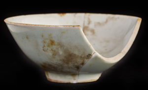Traditional tableware was probably used by the Chinese workers in order for them to maintain some sense of their past while working in a foreign land. (Top) This cup, the style of which is called Wintergreen, was recovered from Terrace. credit: Chris Dunker