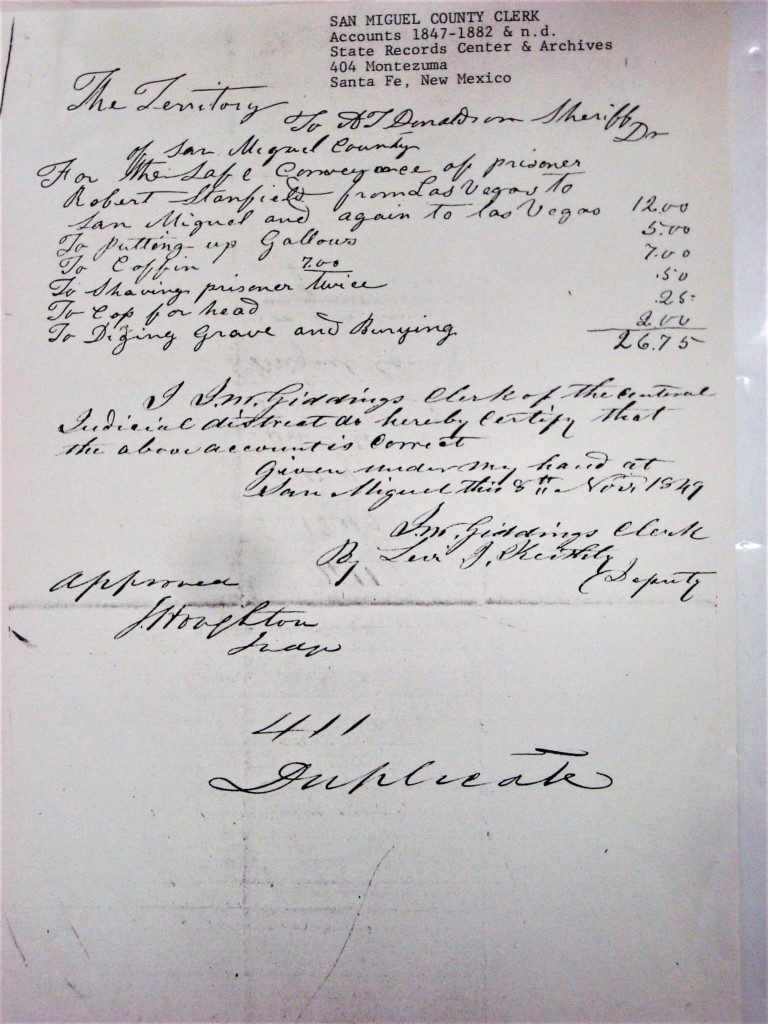 Historic Hangman's Bill from San Miguel County, New Mexico. Courtesy Carol Condie.
