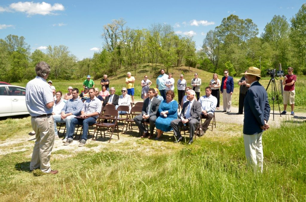 The crowd at the special dedication of the Town Square Mound Donation by The Town Square Bank.