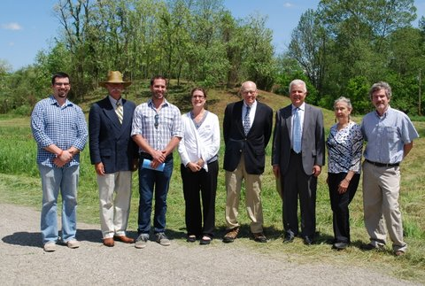 Celebrating at the Town Square Bank Mound Dedication with board of Bank and Archaeologists.