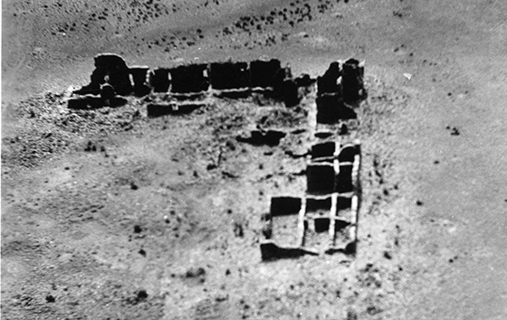 Pueblo Pintado is in a detached part of Chaco Canyon. The name means painted town. No scientific excavations have been done on this site, but tree ring dates from samples collected after the Lindberghs photographed it suggest it's roughly 1,000 years old. Credit: Lindbergh Collection, MIAC/Lab MIAC cat# 70.1/ 130 , Chaco Canyon, Pueblo Pintado.