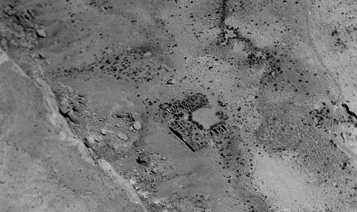 Wijiji is a medium-sized great house in Chaco Canyon. It has not been scientifically excavated, but it's believed to be approximately 900 years old. Credit: L.3 70.1/209 Chaco Canyon, Wijiji. Lindbergh Collection, Archives, Museum of Indian Arts & Culture, Laboratory of Anthropology.