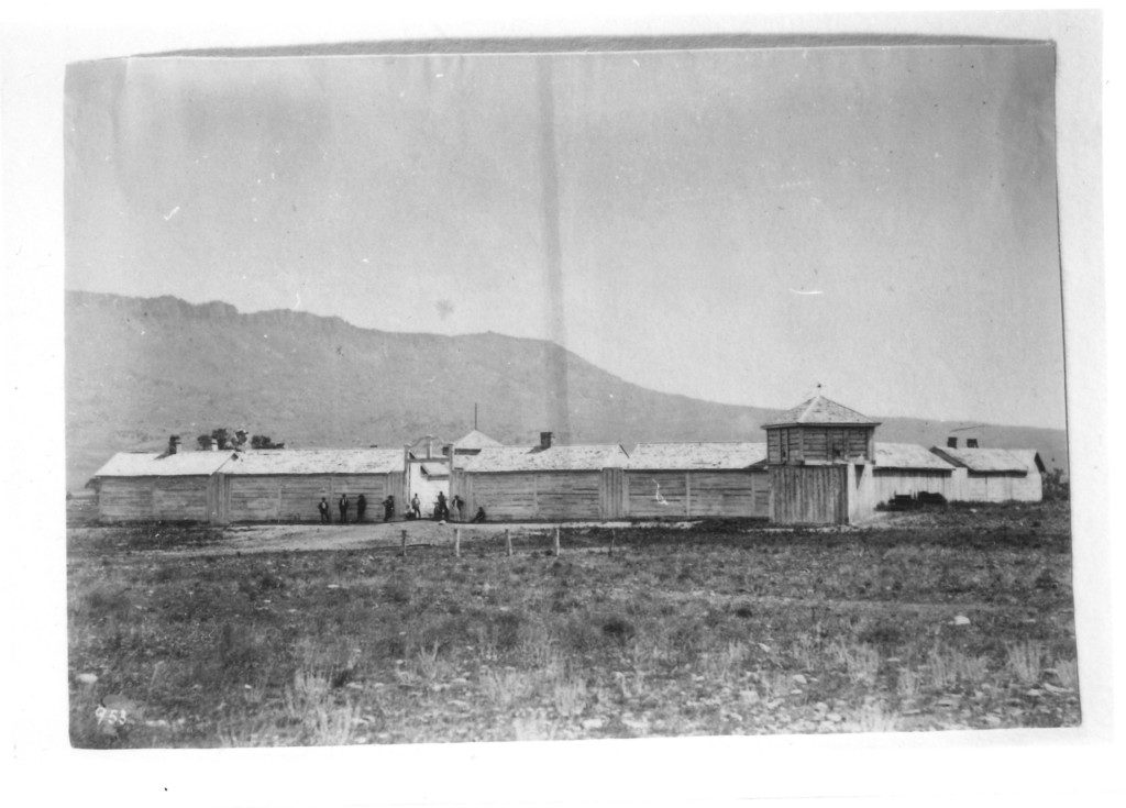 Historic photo from 1871 by William Henry Jackson of the original wooden building, Ft. Parker.