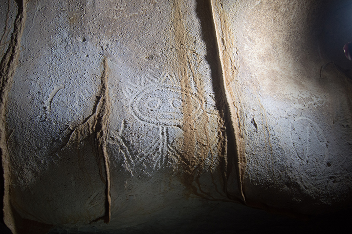 Some of the indigenous drawings in Mona Island's caves consist of anthropomorphic figures. Credit: Jago Cooper and Alice Samson