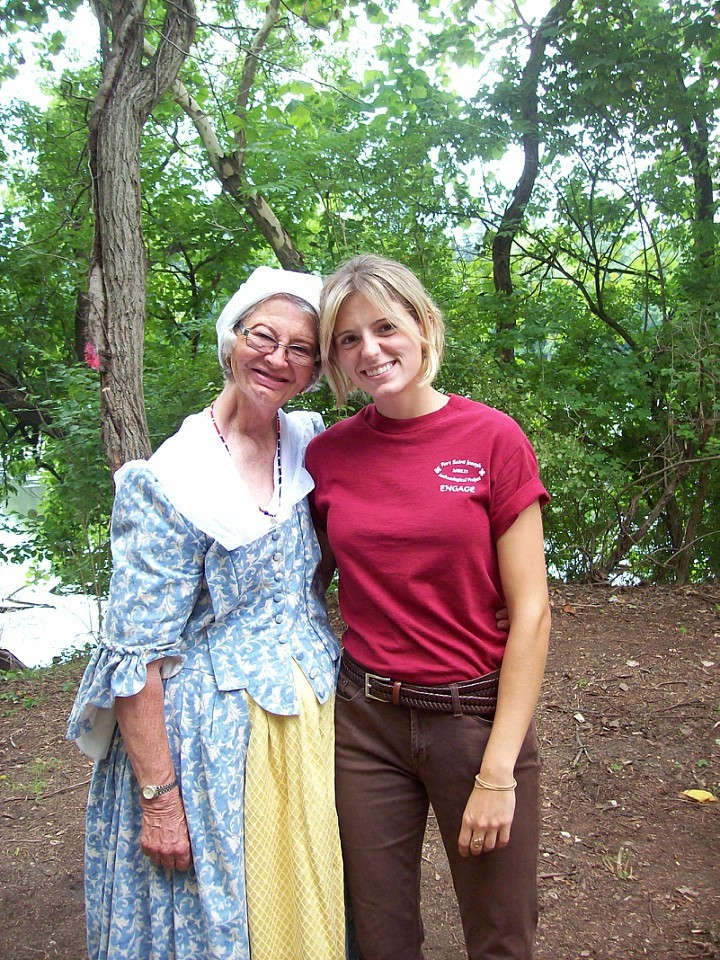 The author with Niles resident Barbara Cook (here in period garb), a longtime supporter of archaeology and public outreach at the Fort St. Joseph Open House. Photo Courtesy Kelley Berliner.
