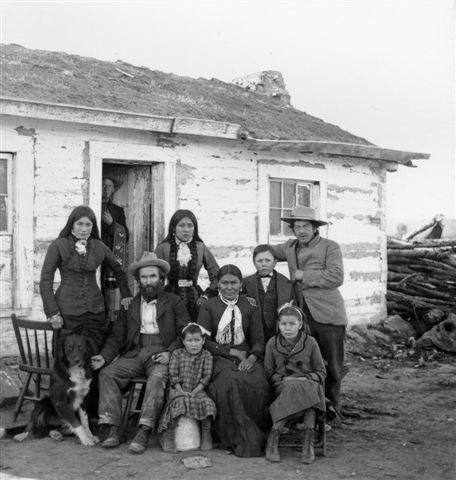 Historic Photo of Crow Family at the Second location of the Crow Agency, Montana (post 1875)