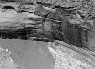 Canyon de Chelly's White House Ruin is seen at the edge of the river. The Lindberghs' pictures may have played a role in Canyon de Chelly being declared a national monument in 1931. Lindbergh Collection, MIAC/Lab MIAC cat# 70.1 / 197