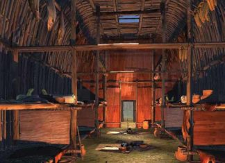 A person wearing a virtual-reality headset can view this 3-D, sixteenth-century Iroquois longhouse created by SA Western. Credit: Michael Carter.