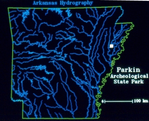 A map showing the location of Parkin Archeological State Park. Photo courtesy Arkansas Archeological Survey.