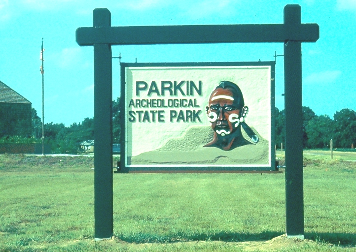 The sign at Parkin Archeological State Park. Photo courtesy Arkansas Archeological Survey.