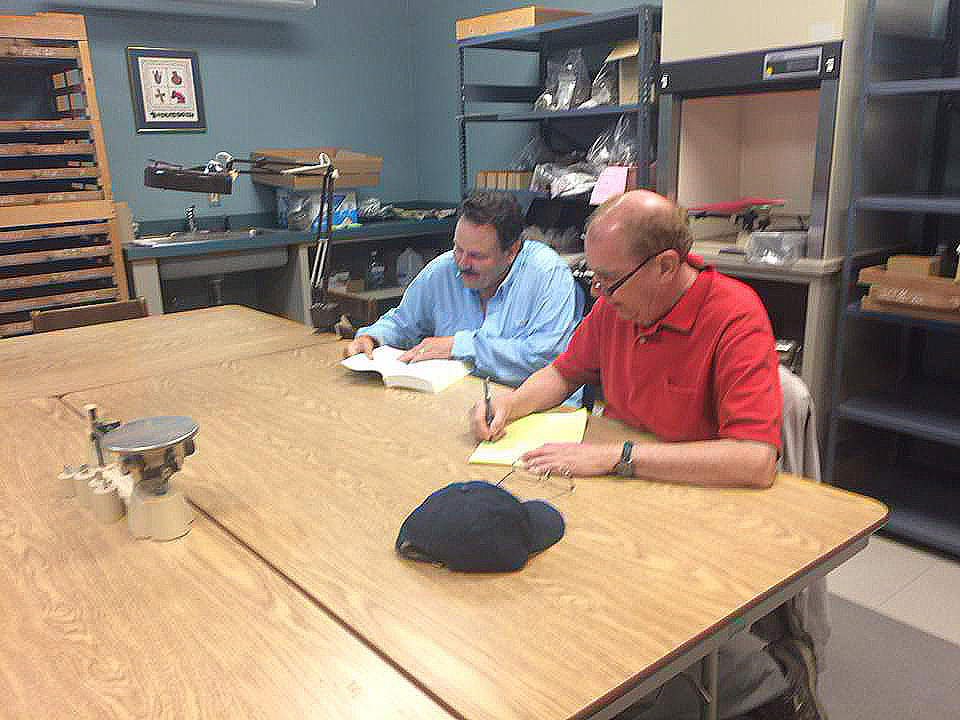 Jeff Mitchem and TAC President Mark Michel consulting on Mark's press release/article on the Parkin cross excavations, April, 2016. Photo courtesy Jessica Fleming Crawford.