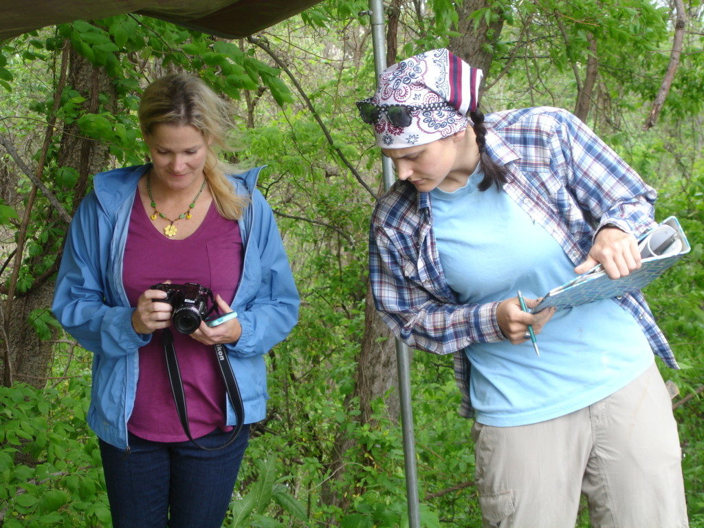 TAC's Southeast Representative Jessica Fleming Crawford and Arkansas Archeological Survey Research Assistant Katie Leslie at the Parkin site cross investigations, April, 2016. Photo courtesy Arkansas Archeological Survey.
